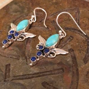 Lapis Turquoise Sterling Silver Earrings